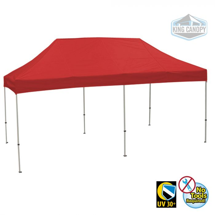 Tuff Tent White Frame 10x20 Instant Pop Up Tent W Red Cover
